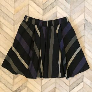BCBG Black & Purple Striped Skater Mini Skirt